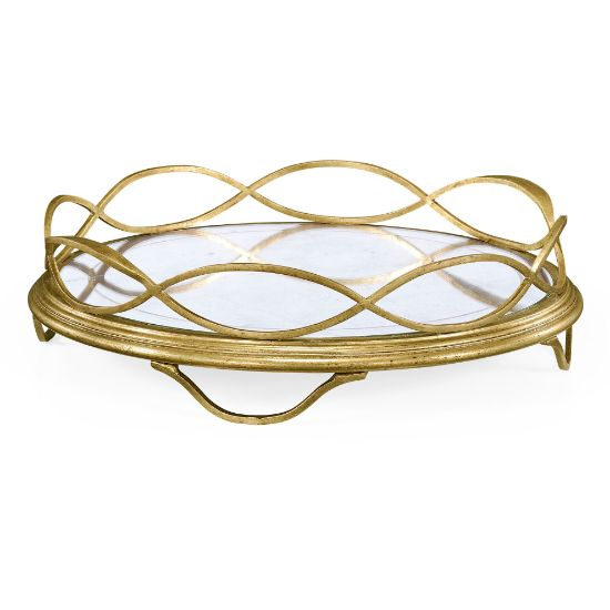 Picture of Églomisé & Gilded Circular Tray by Jonathan Charles