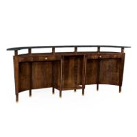 Picture of Mahogany semi circular five panel registration desk with fine inlays by Jonathan Charles