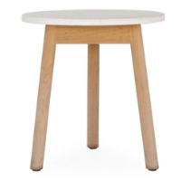 Picture of Riva | White Marble Top Teak Base Outdoor Side Table By Kettal